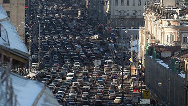 Автомобильные пробки в Москве.Архивное фото