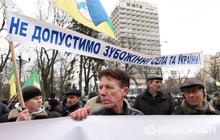 Участник акции протеста у здания Верховной рады в Киеве, которую проводят аграрии
