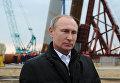 Президент России Владимир Путин во время прямой трансляции обращения с острова Тузла в Керченском проливе