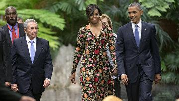 Президент США Барак Обама и первая леди Мишель Обама на ужине с президентом Кубы Раулем Кастро. 21 марта 2016