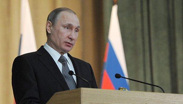 Президент России Владимир Путин выступает на расширенном заседании коллегии Генеральной прокуратуры РФ в Москве. 23 марта 2016