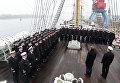 """Курсанты и студенты морских вузов страны на борту учебного парусного судна """"Крузенштерн"""" перед отправкой в первый рейс нового сезона"""