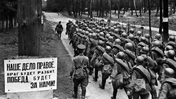 Мобилизация. Колонны бойцов движутся на фронт. 23 июня 1941 года