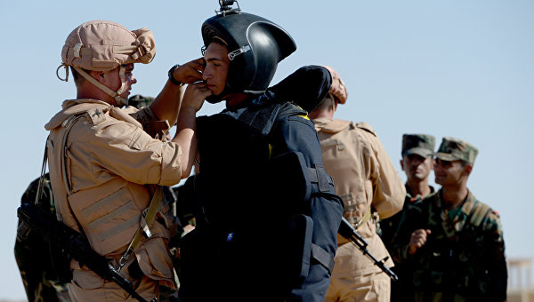 Российские военнослужащие обучают сирийских солдат поисковой тактике и обнаружению взрывных устройств в Пальмире