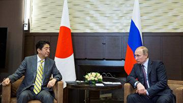 Президент России Владимир Путин и премьер-министр Японии Синдзо Абэ во время встречи в резиденции Бочаров ручей. Архив