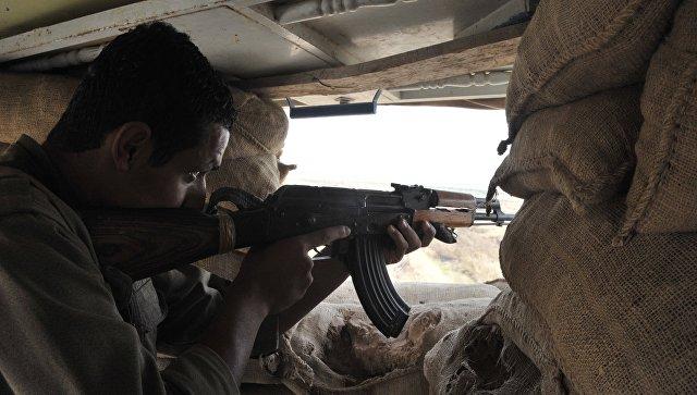 Боец на огневой позиции на границе с ИГ. Архивное фото