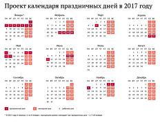 Проект календаря праздничных дней в 2017 году