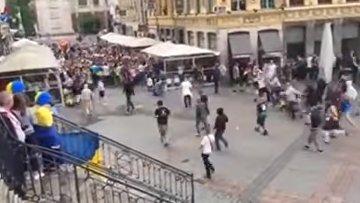 В сети появилось видео столкновений между фанатами из Германии и Украины