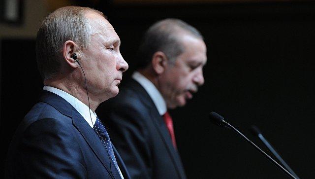 Президент России Владимир Путин и президент Турецкой республики Реджеп Тайип Эрдоган. Архивное фото