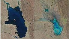 Озеро Поопо, Боливия. Октябрь 1986 слева и январь 2016 справа