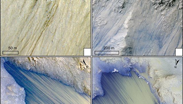 NASA показало кадры каньонов Марса соследами воды