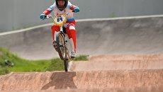 Спортсменка сборной России по велоспорту в дисциплине BMX Ярослава Бондаренко во время тренировки. Архивное фото