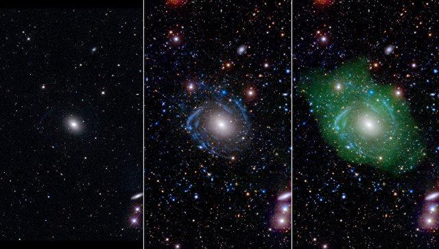 Галактика UGC 1382 в оптическом (слева), ультрафиолетовом (центр), и радио (справа) диапазонах