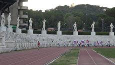 Римляне с флагами России пробежали по стадиону в поддержку легкоатлетов из РФ