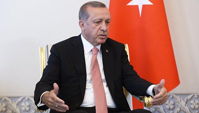 Президент Турции Реджеп Тайип Эрдоган во время встречи с президентом России Владимиром Путиным в Санкт-Петербурге. Архивное фото.