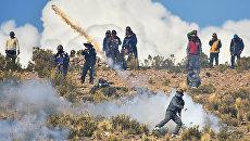 Акция протеста шахтеров против политики правительства президента Боливии Эво Моралеса. 25 августа 2016