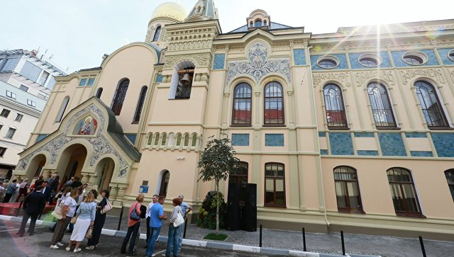 Открытие после реставрации здания исторического корпуса РЭУ им. Г.В. Плеханова и домового храма. Архивное фото