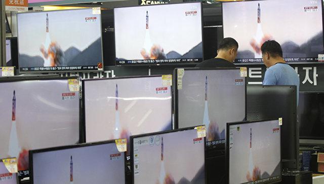 Трансляция испытаний баллистических ракет в КНДР по телевидению Южной Кореи
