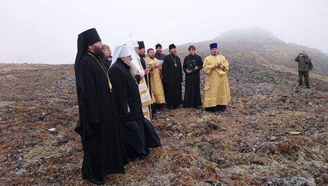 Патриарх Кирилл на российском пограничном острове Ратманова