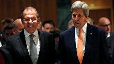 Глава МИД РФ Сергей Лавров и госсекретарь США Джон Керри на переговорах по урегулированию сирийского кризиса в Женеве, Швейцария. 9 сентября 2016