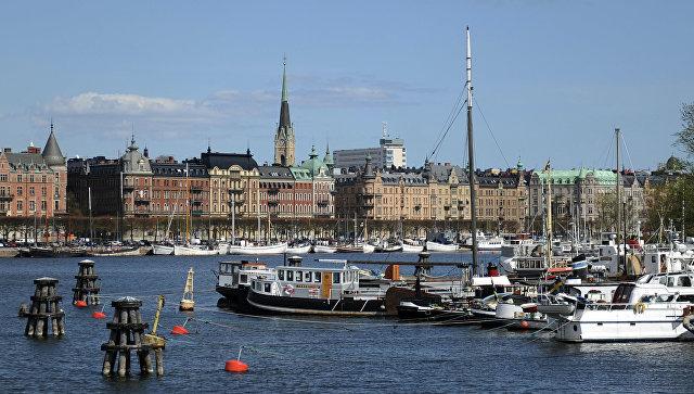 Вид на город Стокгольм, Швеция. Архивное фото