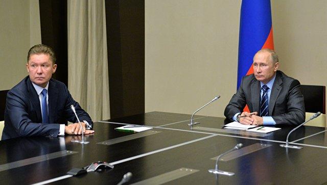 Владимир Путин и Алексей Миллер во время видеоконференции по запуску в эксплуатацию Восточно-Мессояхского месторождения. 21 сентября 2016