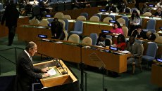 Глава МИД РФ Сергей Лавров во время выступления на Генассамблее ООН