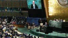 Президент России Владимир Путин выступает на пленарном заседании 70-й сессии Генеральной Ассамблеи ООН в Нью-Йорке. 28 сентября 2015. Архивное фото
