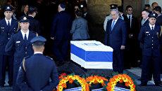 Премьер-министр Израиля Беньямин Нетаньяху на церемонии прощания с экс-президентом Шимоном Пересом в Иерусалиме. 29 сентября 2016