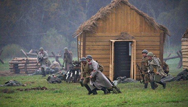 Реконструкция битвы за Москву в музее-заповеднике Бородинское поле. Архивное фото