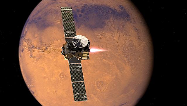 Межпланетный аппарат ЭкзоМарс-2016 с посадочным аппаратом Скиапарелли. Архивное фото