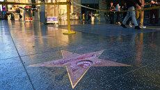 Разбитая звезда Дональда Трампа на Аллее славы в Голливуде. Архивное фото