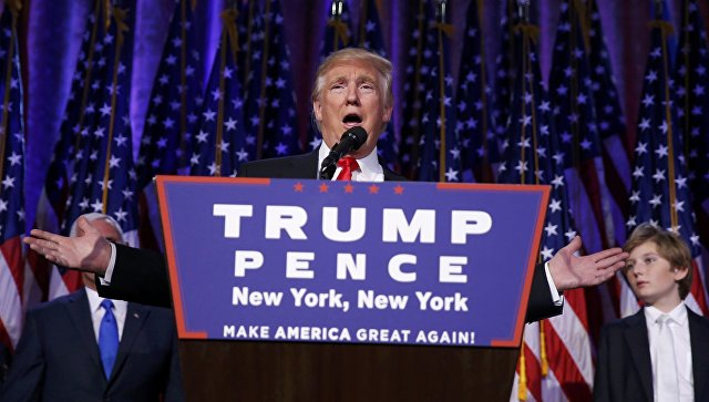 Избранный президент США Дональд Трамп во время выступления в Нью-Йорке. 9 ноября 2016