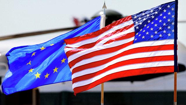 Флаги ЕС и США Архивное фото