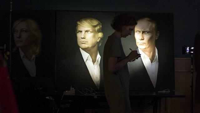 Портреты президента США Дональда Трампа и президента России Владимира. Архивное фото