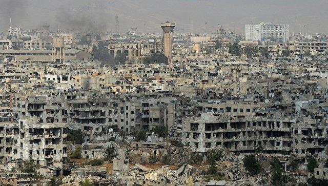 Вид на район Джобар в Дамаске, удерживаемый боевиками Джебхат ан-Нусра. Архивное фото