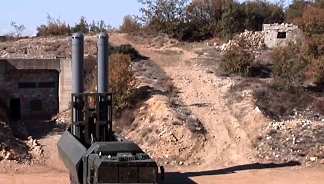 Пуск крылатой ракеты Оникс с БРК Бастион по объекту незаконных вооруженных формирований в Сирии. Архив