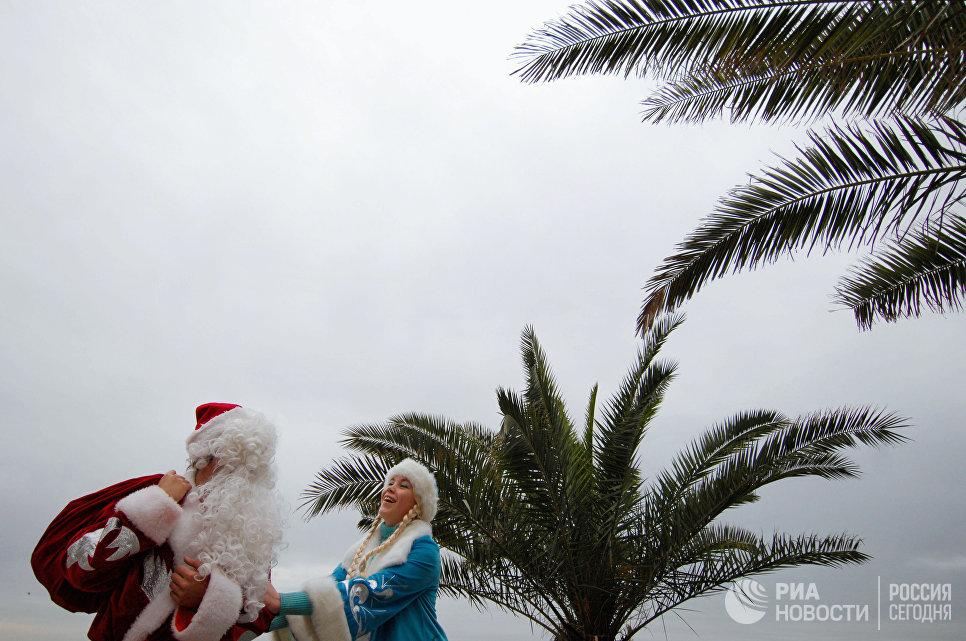 Дед Мороз и Снегурочка на набережной города Адлера