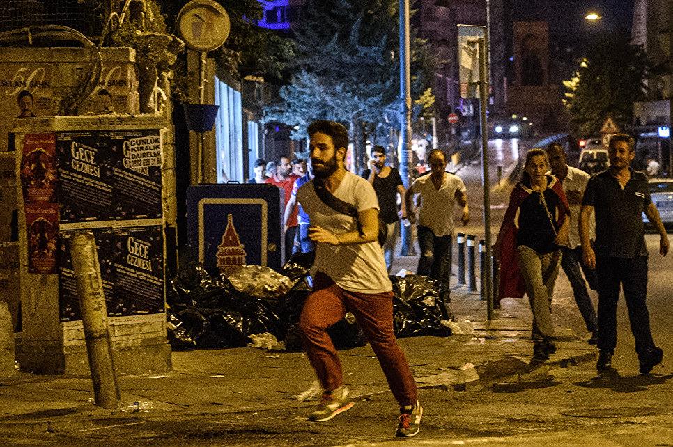 Протесты на площади Таксим в Стамбуле. 16 июля 2016 года