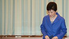 Президент Южной Кореи Пак Кын Хе на экстренном заседании кабмина в Сеуле