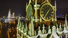 Часы на Спасской башне Московского Кремля. Архивное фото