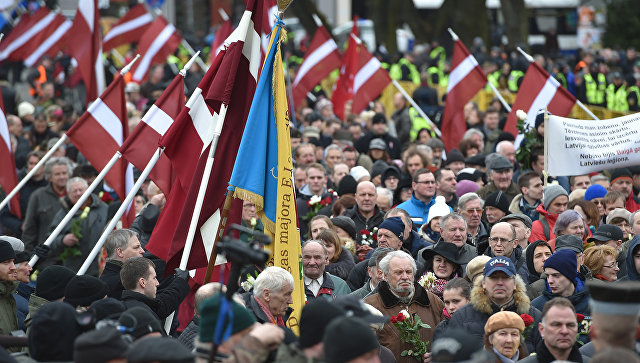 Шествие легионеров СС в Риге, Латвия. Архивное фото