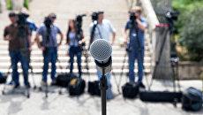 Журналисты перед началом пресс-конференции. Архивное фото