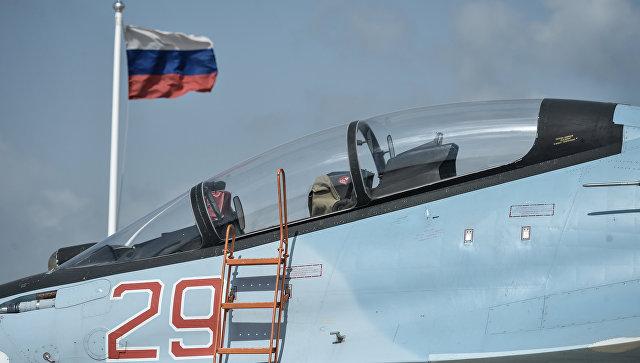 Истребитель ВКС РФ СУ-30 СМ на авиабазе Хмеймим в Сирии