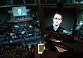 Бывший сотрудник ЦРУ и Агентства национальной безопасности США Эдвард Сноуден на экране монитора во время видеосвязи из России. Парламентские слушания в Совете Европы, Страсбург. Июнь 2015