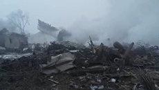 Первые кадры с места крушения Boeing 747 над дачным поселком под Бишкеком