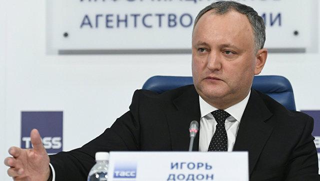 Президент Молдовы Игорь Додон во время пресс-конференции в Москве. 17 января 2017