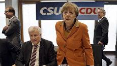 Канцлер Германии Ангела Меркель на совместном заседании президиумов партии Меркель ХДС и ХСС в Мюнхене. 6 февраля 2017