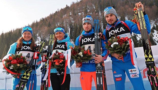Российские биатлонисты взяли «бронзу» всмешанной эстафете наЧМ