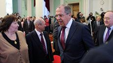 Сергей Лавров во время встречи со студентами и преподавателями Дипакадемии МИД РФ в Москве. 15 февраля 2017